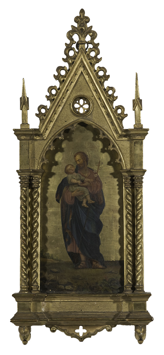 A 19th-century Italian icon in a gilt carved and gessoed frame is estimated to bring $2,000-3,000 in Cowan's Feb. 20 Fine and Decorative Art Auction. Image courtesy of Cowan's Auctions Inc.