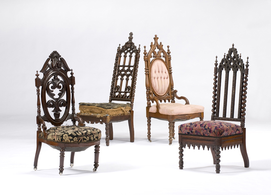 A group of American Gothic-revival side chairs, circa 1840-1860, is estimated to bring $400-600 in Cowan's Feb. 20 Fine and Decorative Art Auction. Image courtesy of Cowan's Auctions Inc.