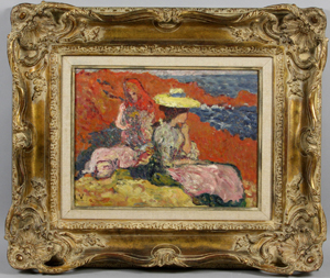 Louis Valtat's oil painting titled 'Jeune Femmes Sur Les Rochers' measures 11 inches by 13 3/4 inches. Estimated at $30,000-$50,000, it sold for $54,050 inclusive of premium. Image courtesy of Kaminski Auctions.