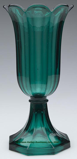 A superb example of Early American glass, this 10-inch-tall tulip vase made by Boston & Sandwich Glass Co., 1845-1865, ex Ken & Sylvia Lyon collection, sold for $13,000 on the hammer at Green Valley Auctions (specialty/catalog division now exclusively maintained under Jeffrey S. Evans & Associates) on May 17, 2008. Image courtesy LiveAuctioneers.com Archive and Jeffrey S. Evans & Associates.