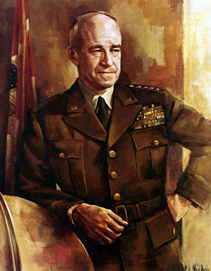 Portrait of U.S. General of the Army Omar Nelson Bradley (1893-1981), painted by Clarence Lamont MacNelly (1920-1986).