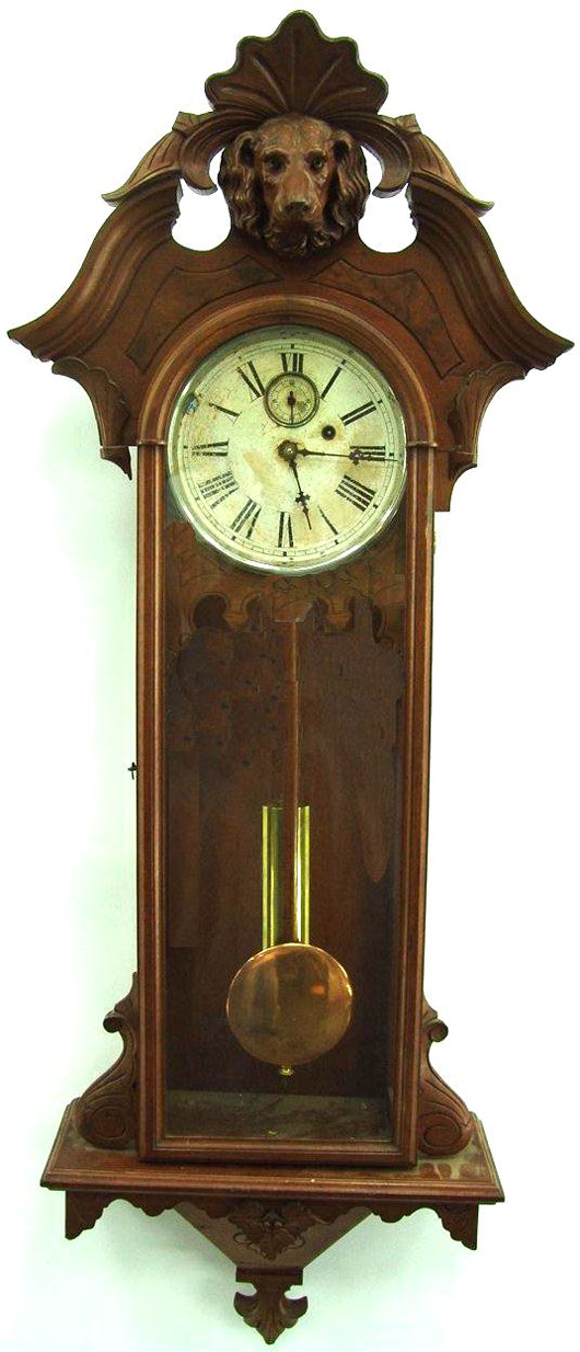 One-weight regulator clocks, especially American-made models, are unusual and desirable. Dirk Soulis Auctions sold this one-weight regulator produced by Gilbert Clock Co. in Connecticut to an online bidder for $2,090. Image courtesy of Dirk Soulis Auctions.