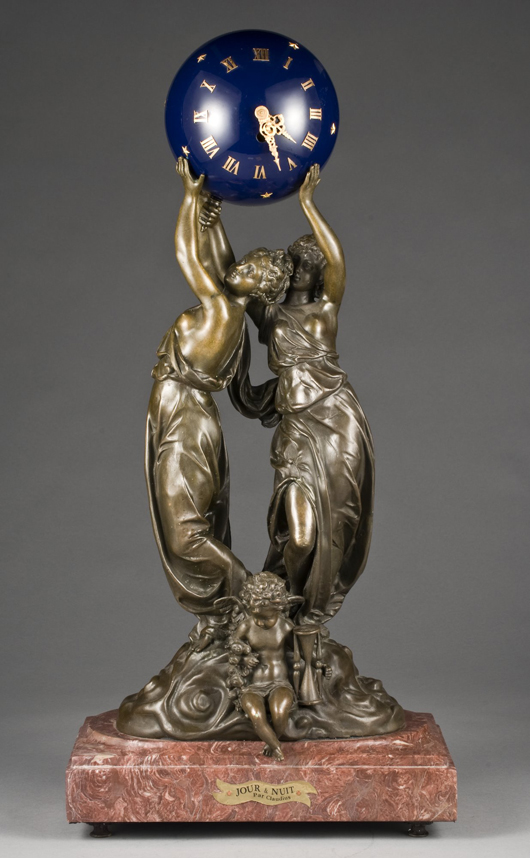 The blue orb held aloft by two maidens contains the movement of this French Louis XV-style clock, which stands 28 inches high. The late-19th-century timepiece sold for $3,000 in September. Image courtesy of Dallas Auction Gallery.