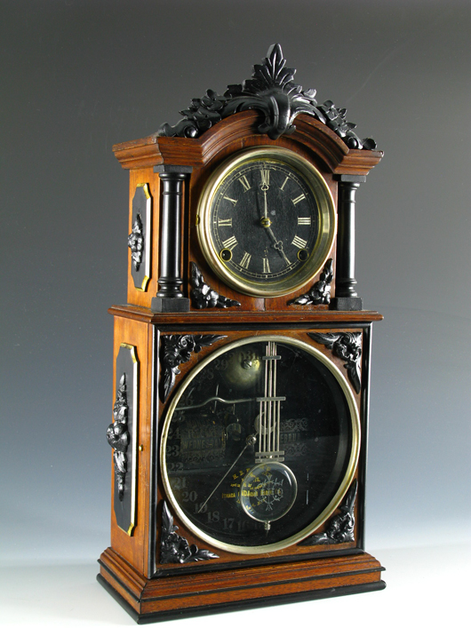 The Ithaca No. 3 1/2 double-dial parlor clock also gives the day and date. It sold at Dirk Soulis Auctions in November for $2,100. Image courtesy of Dirk Soulis Auctions.