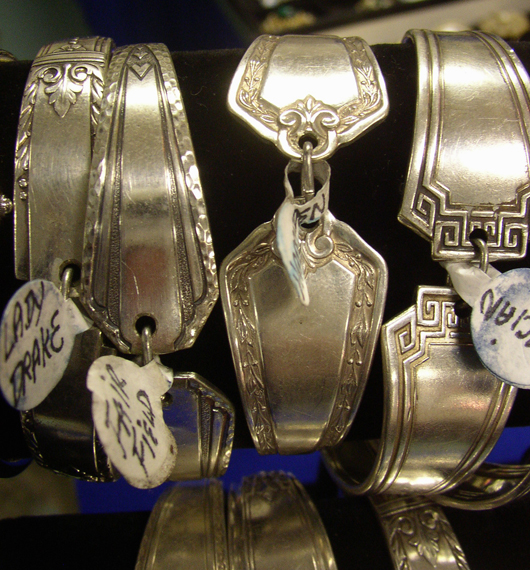 Silver bracelets with magnetic catches made from flatware. Image courtesy Florida Antique Shows/Puchstein Promotions.