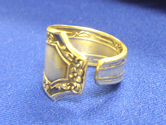 A man's ring made from a piece of sterling flatware. Image courtesy Florida Antique Shows/Puchstein Promotions.