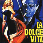 Poster for the 1960 film La Dolce Vita, whose character Papparazzo is said to have been inspired by celebrity photographer Felice Quinto. Fair use of copyrighted image provided by moviegoods.com, obtained through wikipedia.org.