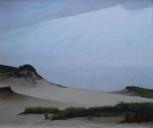 This dunescape by Raymond Eastwood is dated 1946. The 19 1/2- by 23 3/4-inch oil on canvas has a $2,000-$4,000 estimate. Image courtesy of Outer Cape Auctions.