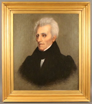 Portrait of Andrew Jackson, painted 1836 by William Stewart Watson and given by the president to an Alabama supporter, sold for $36,320. Image courtesy of Case Auctions.