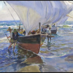 John Whorf (Massachusetts/California, 1903-1959), watercolor, Mediterranean Fishermen, signed, 21 inches by 29 inches sight. Estimate $4,000-$6,000. Image courtesy William Jenack Auctioneers.