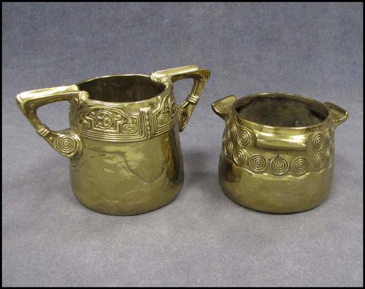 Austrian gilt bronze sugar and creamer marked 'Gurschner' (Gustav, Austrian 1873-1971). Estimate $600-$900. Image courtesy William Jenack Auctioneers.