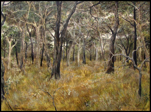 Ray Austin Cooke (Australian, 1922-), 'Forest,' oil on Masonite panel, 18 inches by 24 inches sight, signed and dated 1958. Estimate $7,000-$10,000. Image courtesy William Jenack Auctioneers.