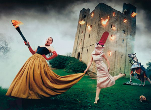 Print of 1996 photograph by David LaChapelle originally taken for Italian Vogue and titled Alexander McQueen and Isabella Blow: Burning Down the House, Essex, England. Auctioned for $16,275 by San Marco Casa d'Aste S.p.A., June 18, 2009. McQueen, left, was close friends with Isabella Blow, an English magazine editor who died in 2007. Image courtesy LiveAuctioneers.com Archive and San Marco Casa d'Aste S.p.A.