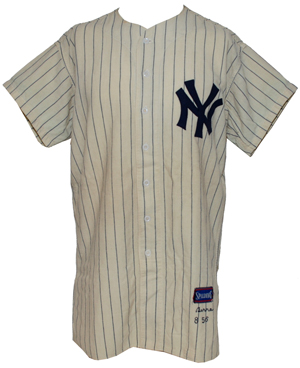 Front view of uniform worn by Yogi Berra as catcher in 1956 World Series perfect game pitched by Don Larsen, to be offered in Grey Flannel's April 14 Summer Games Auction. Image courtesy Grey Flannel Auctions.