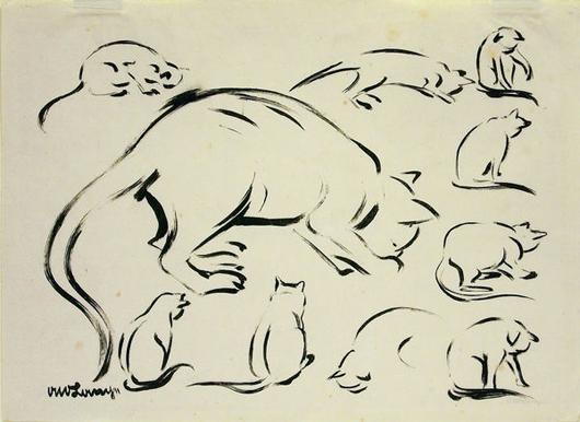 Lithographie Katze, ca. 1920 von Otto Lange, 1879-1944.  (Foto mit Erlaubnis Doebele Galerie + Kunstauktionen.)