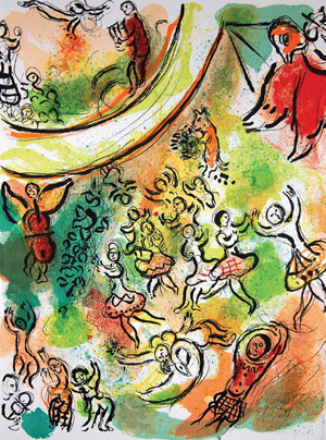 Original color lithograph by Marc Chagall (circa 1963), titled The Red Angel (13 in. by 9.5 in.).