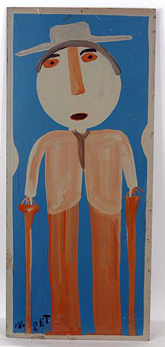 Mose Tolliver's self-portrait depicts himself standing with canes. The renowned outsider artist used housepaint on a board, 13 inches by 29 inches. Image courtesy of Slotin Folk Art and Live Auctioneers Archive.