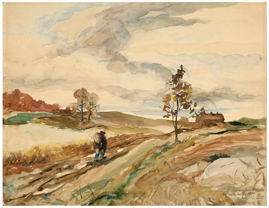 This Andrew Wyeth painting was given as a gift in 1935 to a nurse who worked for the Wyeth family. She then gave it to a friend in the 1950s. It sold for $36,800. Image courtesy Brunk Auctions.