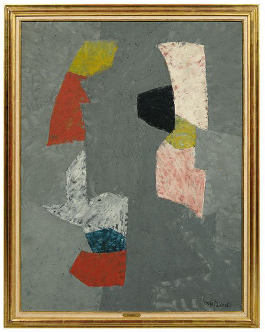 A handwritten letter from artist Serge Poliakoff (1900-1969) dated June 23, 1969, attesting to the authenticity of 'Composition,' accompanied the 1955-1956 signed painting. At $368,000, Composition,45 3/4 inches by 35 inches, was the top lot of the sale. Image courtesy Brunk Auctions.