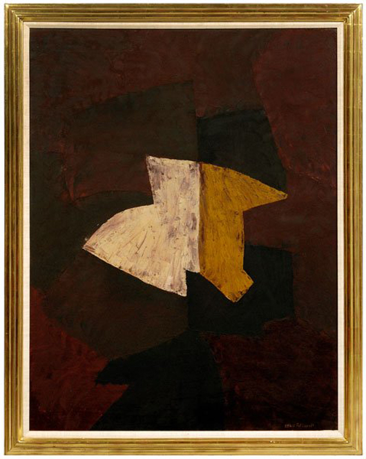 At least three books have been written about Serge Poliakoff (Russian, 1900-1969). They accompanied his dark abstract composition dated 1960. The 45 3/4- by 35-inch painting sold $264,500, making it the sale's second highest lot. Image courtesy Brunk Auctions.