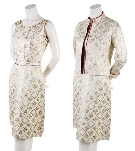 A Chanel Couture gold brocade dress and jackets, circa 1970s, was auctioned on Sept. 2, 2009 by Leslie Hindman Auctioneers. The Chicago auction house is renowned for its Vintage Couture & Accessories sales. Image courtesy LiveAuctioneers.com Archive and Leslie Hindman Auctioneers.
