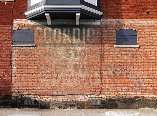 The only remaining identification that this was once a music store on the corner of State and Martin Streets in Schenectady, N.Y. is the remnants of the word 'Accordions' as a ghost sign. Photo by Chuck Miller.