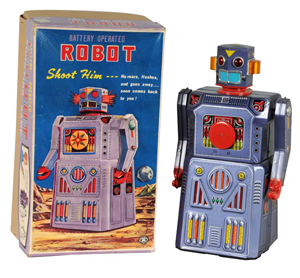 Masudaya battery-operated Target Robot with original pictorial box and sealed bag of accessories, $52,900. Image courtesy Dan Morphy Auctions.