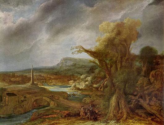 Landscape with an Obelisk, 1638, Govaert Flinck, until recently attributed to Rembrandt. Stolen from the Isabella Stewart Gardner Museum on March 18, 1990.