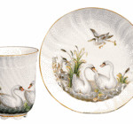 This colorful 19th-century cup and saucer is copied from the famous Meissen Swan set of the 1730s. It sold recently at a Skinner auction for $593.