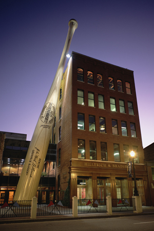 The world's biggest baseball bat marks the entrance to the museum. It's 120 feet tall and weighs 68,000 pounds. The bat is hand-painted steel. Image courtesy Louisville Slugger Museum & Factory.