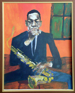 R. Gregory Christie's artwork graces the covers of numerous jazz labels. His portrait of jazz saxophonist John Coltrane was used for the cover of 'Coltrane: The Complete 1961 Village Vanguard Recordings,' released by GRP in 1997. Image courtesy Mid-Hudson Auction Galeries and Live Auctioneers Archive.
