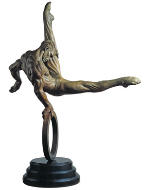 Richard MacDonald, bronze of gymnast titled The Flair, 1995, 51 inches tall, certificate of authenticity available. Image courtesy Clars.