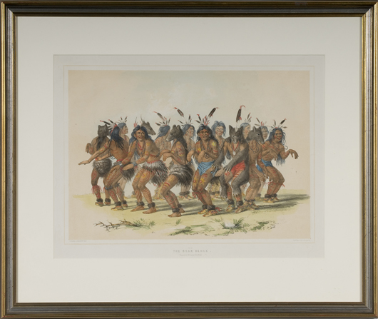 This lithograph depicting a 'Bear Dance,' a plate from 'Catlin's North American Indian Portfolio,' sold for $1,300 in Cowan's June, 2009 Historical Americana auction. Image courtesy of Cowan's Auctions Inc.