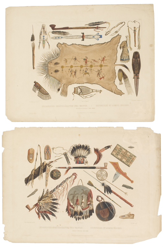 'Indian Utensils and Arms,' is a good example of Bodmer's thorough and scientific approach, from the view of an artist/ethnologist. It sold for $1,200. Image courtesy of Cowan's Auctions Inc.