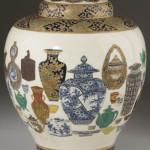 Unusual pottery-themed Satsuma lidded jar from the Tasho Period (1912-1925). Image courtesy Leland Little Auction & Estate Sales Ltd.