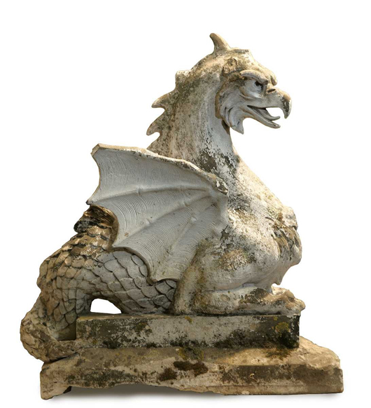 An early 20th-century white terracotta Wyvern dragon, on view at the Spring Decorative Antiques and Textiles Fair in Battersea Park in April. The fair celebrates its 25th anniversary this year, with around 135 exhibitors.