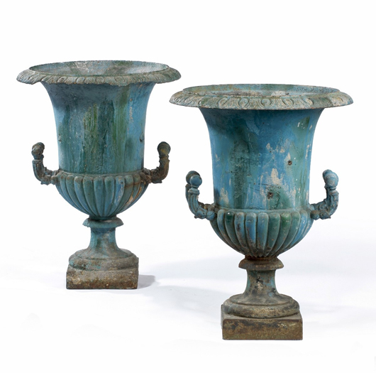 This pair of early 19th-century French iron planters with later paint will be offered at the Spring instalment of London's thrice-yearly Decorative Antiques and Textiles Fair in April.