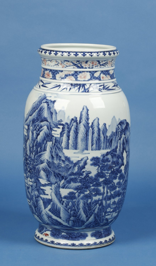 Dorchester auctioneers Duke's were bid £625,000 ($941,200) (hammer) for this Chinese imperial porcelain blue and white lantern vase at their February sale. Image courtesy Duke's.