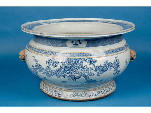 This Chinese blue and white cistern of massive proportions, catalog as probably late Kangxi/Yongzcheng, 25 1/2 inches diameter, fetched a hammer price of £26,000 ($39,180) at Duke's in Dorchester in February. Image courtesy Duke's.