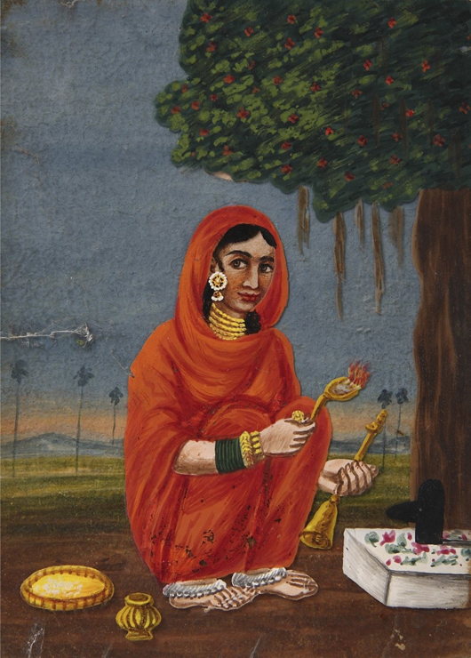 At the inaugural Art Antiques London fair slated to take place in Kensington Gardens in June, London dealers Finch and Co. will offer this unusual set of 27 Indian paintings on mica, circa 1850-70. Image courtesy Houghton Fairs.