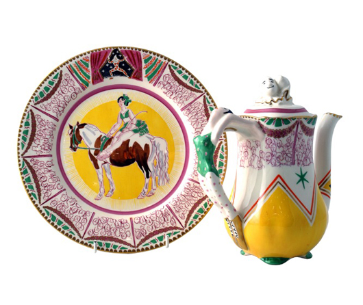 A Wilkinson's plate and coffeepot decorated with designs by Dame Laura Knight (1877-1970) will be offered by Gazelles at £880 ($1,300) and £3,800 ($5,700) respectively at the Chelsea Antiques Fair from 17 to 21 March. Image courtesy Penman Fairs.