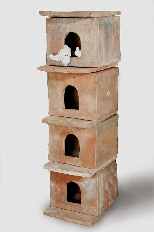 A group of late 19th-century English terracotta dove cotes to be shown at the Spring Decorative Antiques and Textiles Fair in Battersea Park from April 20-25, where the theme will be 'A Garden Fantasy: Unusual Statuary & Decorative Objects for City & Country Spaces.'