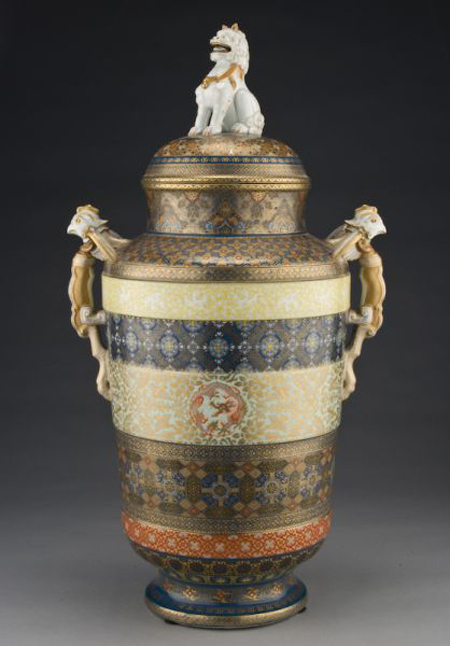 Japanese Koransha vase by Fukagawa, possibly made for the 1876 Philadelphia Exposition, restoration, 28 inches high, $8,579. Image courtesy Dallas Auction Gallery.
