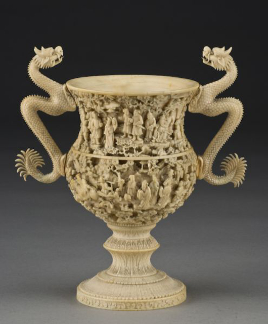 Chinese Qing carved ivory cup, circa late 18th or early 19th century, 8 3/4 inches high, $15,925. Image courtesy Dallas Auction Gallery.