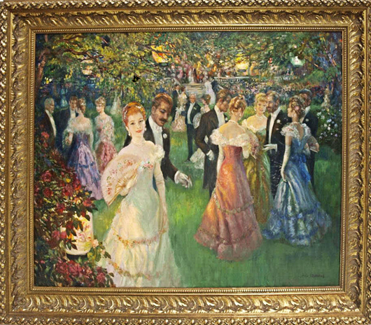 Evening Party, one of 11 artworks by John Strevens (British, 1902-1990) to be offered by Austin Auction Gallery on April 18. Signed and titled, measures 40 inches by 50 inches (sight). Estimate $4,000-$6,000. Image courtesy of Austin Auction Gallery.