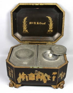 """Japanese lacquered tea box with gilt carved dragon's head feet. Inscribed """"Grant"""" on top and """"Mrs. U.S. Grant"""" on inside cover. Presented to the Grants by the Emperor of Japan. Estimate $10,000-$15,000. Image courtesy Kaminski Auctions."""