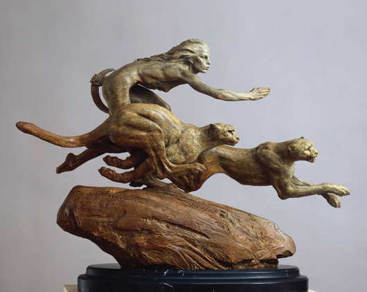 Richard MacDonald's 'Myth and Legend: Diana & the Coursing Cheetahs' sold for $13,040. Done in 1996, it represents the third highest price paid at auction for the California artist's work. Clars Auction Gallery.