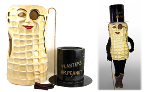Planters Mr. Peanut invented by a Virginia schoolboy in 1916, but this authentic Mr. Peanut costume representing the enduring American icon was worn on the Atlantic City Boardwalk in the 1950s.