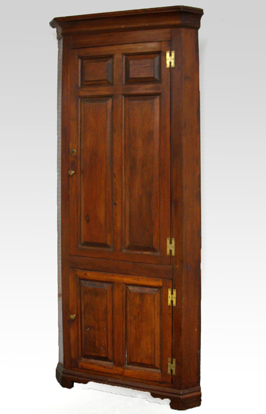 Several large cupboards will be sold at Stephenson's auction including this Pennsylvania corner cupboard from the mid-1800s.