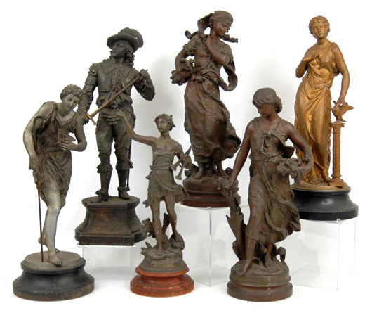 Numerous spelter figures will be sold at Stephenson's Spring 2010 Antique and Decorative Arts Auction.